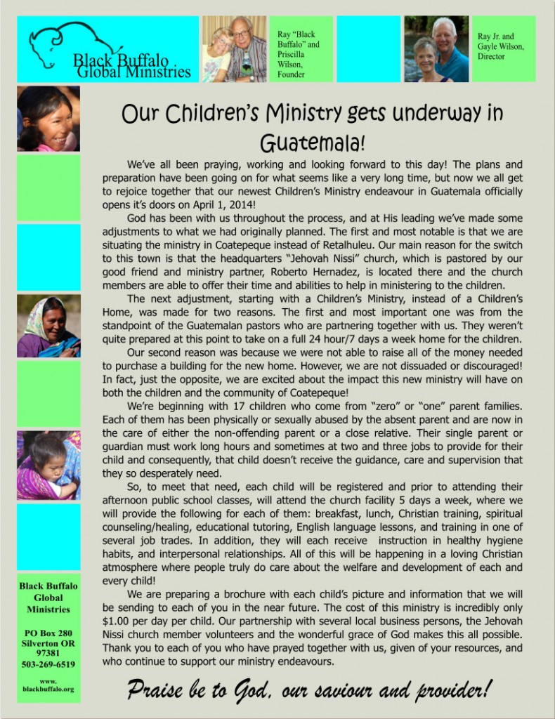 2014 March Newsletter front